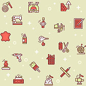 Craft and handmade color icon set. Hobbies, work and makers