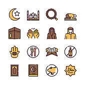 Muslim color linear vector icons set.