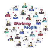 Vector color linear icon round set of working people