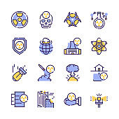 Nuclear color linear icon set. Editable stroke. Missile, radioactive, shelter, bomb effect