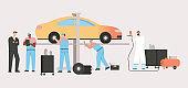Technicians team inspect vehicle, car repair agreement, airbrush painting