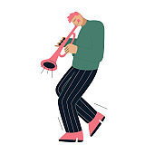 Jazz band member playing music at festival, concert or perform on stage