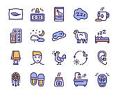 Color linear icons set