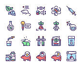 Bio technologies color linear vector icons set. Editable stroke.