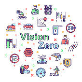 Vector color line icon round set of Vision Zero