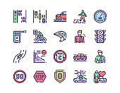 Vector color line icon set of Vision Zero