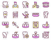 Dental care color linear vector icons set