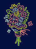 Vector romantic illustration of neon color beautiful bouquet of flowers on black background.