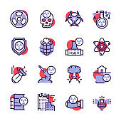 Nuclear color linear icon set. Missile, radioactive, shelter, bomb effect