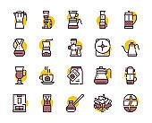Third wave alternative coffee color icon set. Editable stroke.