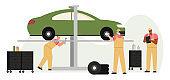 Car diagnostics, service and maintenance scene