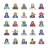 Vector color linear icon set of workers women objects