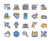 Online shopping icons set on white background