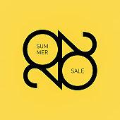 Summer sale 2020. Vector banner, icon, flyer, card, etc.
