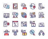 Language learning outline icons set