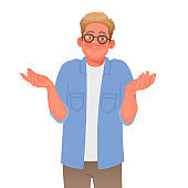 Confused man shrugs. Gesture Oops or I do not know. Concept of question. Vector illustration