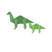 Mummy Apatosaurus with baby on white isolated background, vector illustration that can be used as prints, logos, stickers or as an element of decor for Hobby, Family or Children's goods or topics.