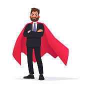 Determined businessman or office worker super hero in a red cloak. The concept of leadership and strength in business