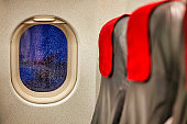 Photo of window seat in airplane