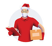 Courier or delivery guy character in red shirt and gloves and red santa hat and medical face mask holding a delivery  box package. Christmas delivery concept. Vector illustration