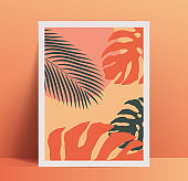 Summer vibes minimalistic poster placard design template with exotic tropical palm leaves and geometric shapes in trendy pastel color palette. Vector illustration