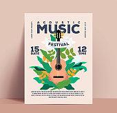 Acoustic music festival or concert or party poster or flyer or invitation design template with classic acoustic guitar on floral background with typographic composition. Vintage styled flat vector