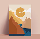 Abstract trendy pastel colored mountains landscape poster or card or wallpaper design template with mountains silhouettes and river and sun in the sky with clouds. Vector illustration
