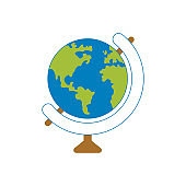 Flat planet Earth icon. Vector illustration for web banner, web and mobile, infographics