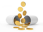 White open medical capsule with falling dollar coins
