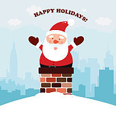 Santa Claus is sitting on a pipe for Christmas. Vector illustration on city background
