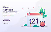 Landing page template of event schedule in gradient effect style