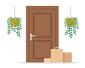 Contactless delivery of parcels to door. Concept of food and goods orders by courier service delivery.