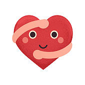 Happy smiling heart with hugging hands. Concept love yourself, Valentine heart.