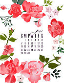 Roses bloom floral june calendar. Summer garden and wild buds with flowers, leaves branches in pink realistic vector art. Month planner illustration