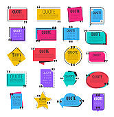 Colored quote frames. Text information paper speech bubbles with quotes.