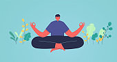 Man in lotus position meditation. Concept of energy charge and relaxation, business solutions.