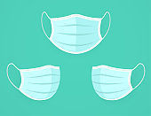 Protective respiratory medical face mask against contaminated environment and viruses.