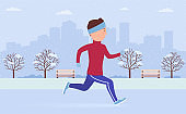 Young man in sportswear jogging or running  in city park in winter. Outdoor workout fresh air,  athletics, active healthy lifestyle. Flat cartoon vector illustration runner on background big city.