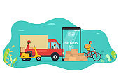 Concept online service delivery of goods by truck, scooter, bike through website application. Logistics and delivery service concept for landing page.