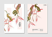 Pink Heliconia exotic tropical australian flower card. Modern nature invite poster. Wild flower tropical seasonal art in vector, modern invitation