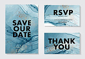 Abstract blue 2020 watercolor alcohol ink flow paint, marble navy gold fluid modern art, wedding invitation. Save the date card, rsvp design template in vector