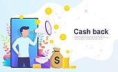 Cash back online banking concept. Money back from online shopping.