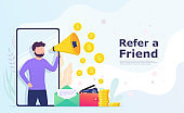 Bring a friend, a man with a megaphone shouts recommend to a friend, sharing information and earning money. Landing page concept, user interface.