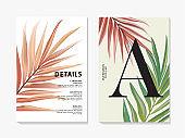 Modern floral pal design template. Advertising card with banana leaves macro pattern. Trendy vector watercolor vintage creative art