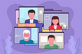 Conference video call, online business discussion, video chat. Online communication concept.