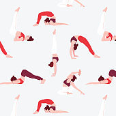 Collection of people performing summer indoor yoga activities: different sport asana poses, meditation activity. Cartoon people character summer pattern illustration in vector. Red grey palette