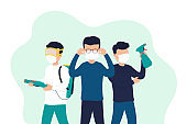 Masked people disinfect objects, fight the virus. Protection from a global epidemic or pandemic. Health and safety concept.