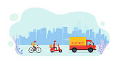 Online service delivering goods home by truck, scooter, bicycle. Logistics and delivery service concept.