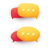 3d chat message speech bubble in yellow and red on a white background. Concept of discussion, dialogue, online support.