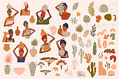 Collection of abstract African women portraits, ceramic vase, jugs, bowls, tropical plants, palm leaf, cactus, animal silhouette, abstract hand draw shapes.